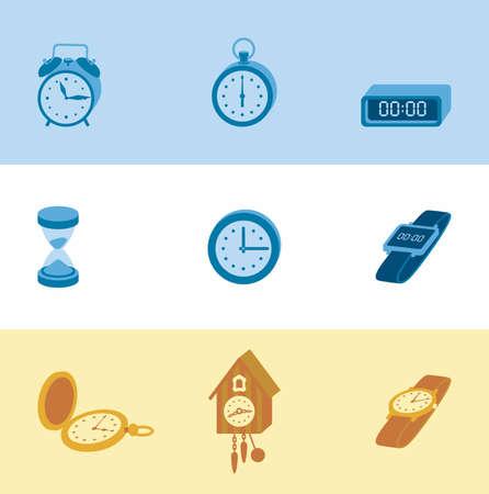 reloj cucu: Este es un conjunto de iconos volumen colorblock tema de reloj incluido el servicio, contador de tiempo, reloj de cuco, el pelo, la vuelta al reloj, alarma, reloj de arena. iconos útiles para la infografía, la presentación y el sitio web.