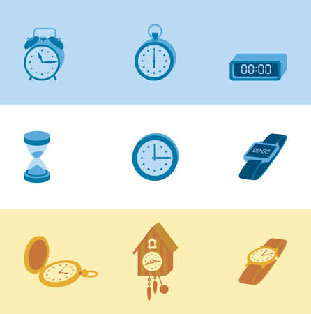 around the clock: This is set of volume colorblock icons clock topic including service, timer, cuckoo clock, hair, round-the-clock, alarm, sand clock. Useful icons for infographics, presentation and web site. Illustration