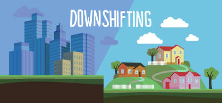 downshifting: Flat design colorful illustration of downshifting concept. Freelancer changes lifestyle. No office work, just freedom. Downshifting cartoon character in vector