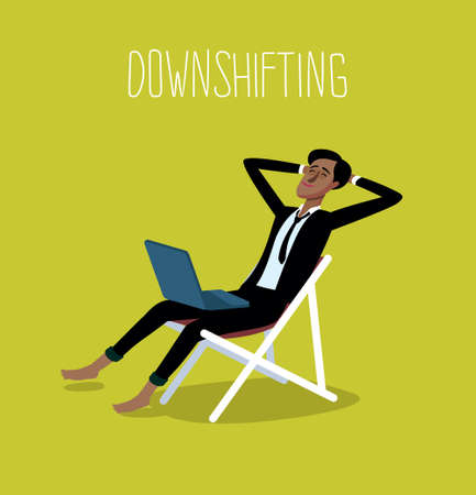 freedom concept: Flat design colorful illustration of downshifting concept. Freelancer changes lifestyle. No office work, just freedom. Downshifting cartoon character in vector