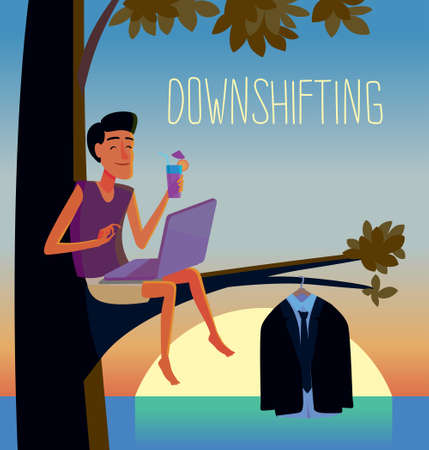 Flat design colorful illustration of downshifting concept. Freelancer changes lifestyle. No office work, just freedom. Downshifting cartoon character in vector