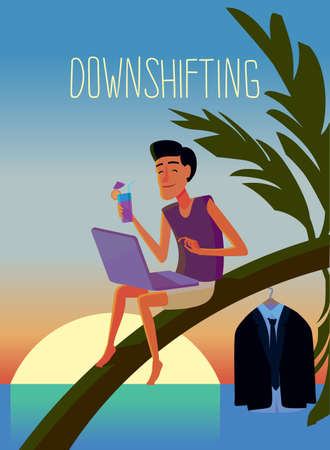 Flat design colorful illustration of downshifting concept. Freelancer changes lifestyle. No office work, just freedom. Downshifting cartoon character in vector Vektoros illusztráció