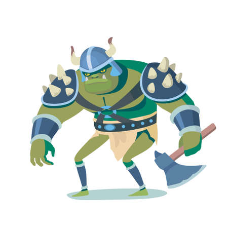 Ork cartoon illustration caracter. Funny colorful picture in vector, angry goblin for game, movie and print advertising. Illustration