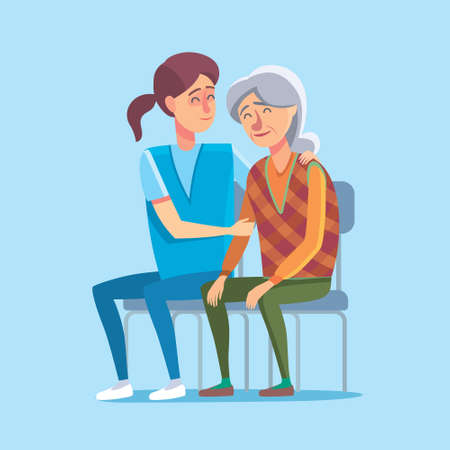 old person: Flat design concept of healthcare and medical for older people. Cartoon illustration old woman and nurse or doctor. Medical help and patronage