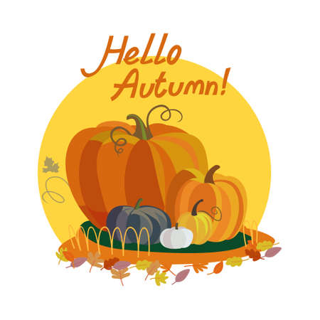 Colorful illustration of seasons theme in vector. Hello autumn concept. Modern vintage colors, flat design. Pumpkin illustration with lettering. For advetrising, bakery, autumn banners, post-card Illustration