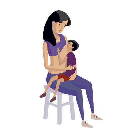 breastfeeding: Flat design illustration of breastfeeding concept. Colorful cartoon character mother feeding baby. Lactation and free breastfeeding wherever you are
