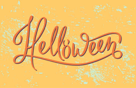 helloween: Helloween quote lettering in vector. Autumn mood and colors. Funny and handdraw brushpen modern calligraphy. Vintage background. Illustration