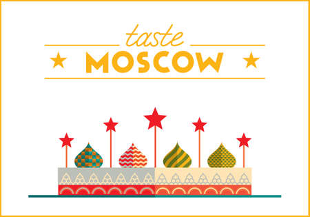 Flat design colorful illustration of Moscow topic. Concept of turism in Russia and Moscow style. Best for banner, web, print design and advertising. Illustration