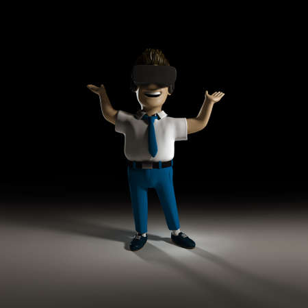 Man wearing glasses illustration of augmented reality topic.3D rendering of young man on black background. Template for virtual and  augmented relity concept.