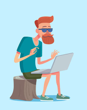 Concept of freelance lifestyle. Cartoon character freelancer in vector and modern flat design. Self employed and freedom concept.