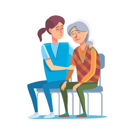 Flat design concept of healthcare and medical for older people. Cartoon illustration old woman and nurse or doctor. Medical help and patronage