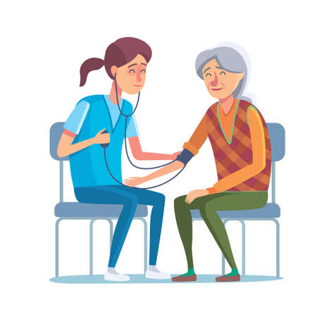 patronage: Flat design concept of healthcare and medical for older people. Cartoon illustration old woman and nurse or doctor. Medical help and patronage