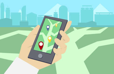 hand holding smart phone: Flat illustration in vector hand holding smart phone with virtual reality game screen. Play a mobile game using location information. Geolocation illustration in vector Illustration
