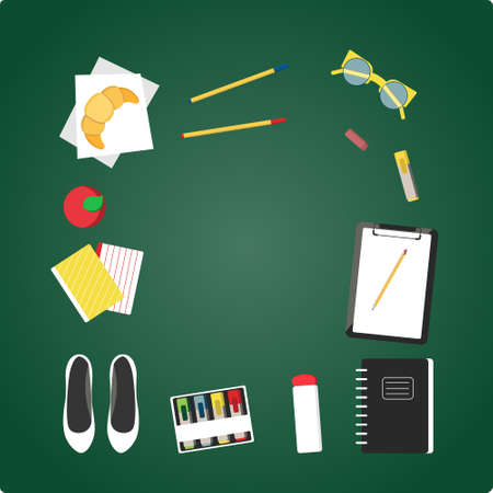 Flat design illustration of school topic with hand draw lettering. School bag, flats, nail polish, lunch, notebooks,croissant, tumbler, vogue bottle. Outfits for school in vector.