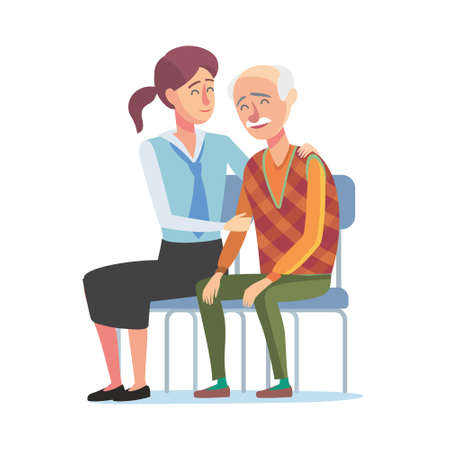 Flat design concept of bank managment service for elder people. Cartoon illustration old woman and bank clerk. Finance,bank and insurance concept