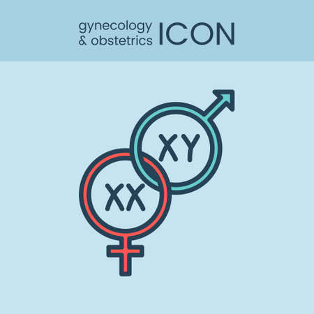 gynecology: Flat style and linear design icons of gynecology and obstetrics concept. Logotype, sign and icon for print design, web, landing page and infographics.