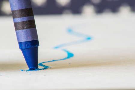 close up: Blue crayon close up