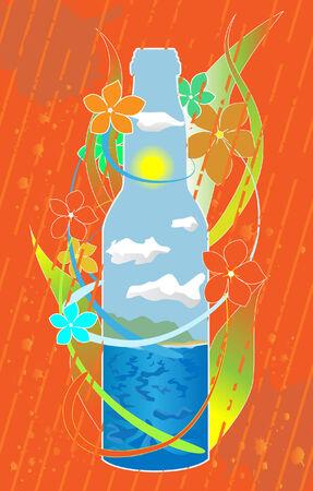 sea in the bottle Vector