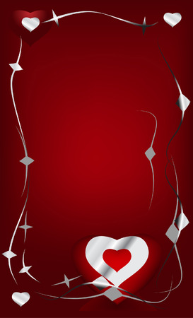 heart with metal greeting card Vector
