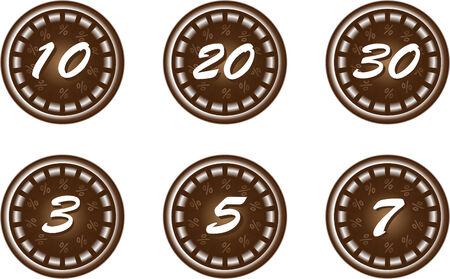 chokolate discount icons Vector