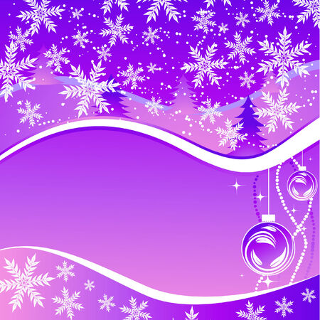 winter greeting card with decorations Stock Vector - 6132070
