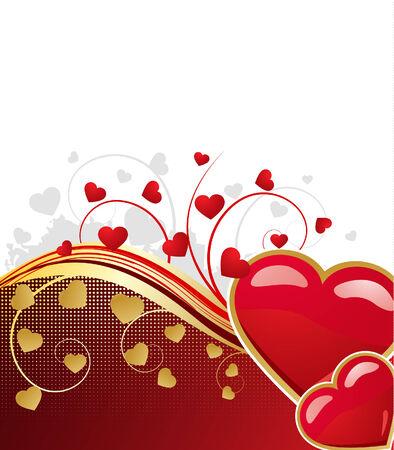 Valentines floral background, vector illustration