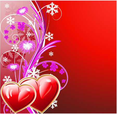 winter floral background with two heart Stock Vector - 6132061