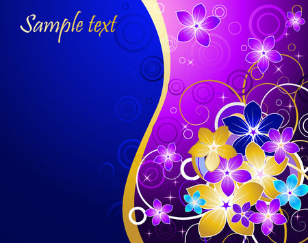 Floral Background With Blue And Gold Flowers Stock Vector
