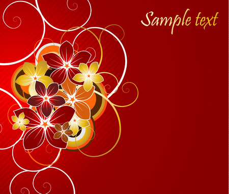 floral background with red and gold flowers Vector