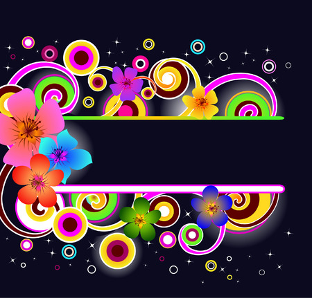 neon: banner with glowing flowers and abstract shapes