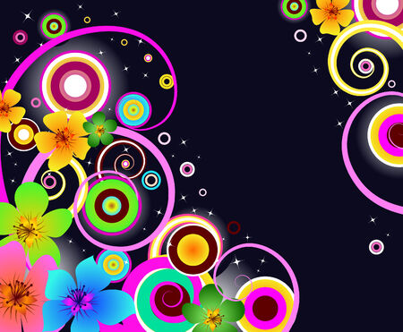 background with glowing flowers and abstract shapes Vector