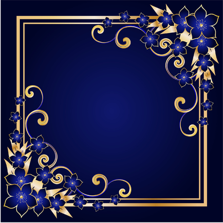 blue frame: golden floral frame