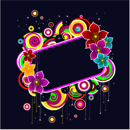vector frame with glowing flowers and abstract shapes Vector