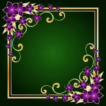 green swirl: golden floral frame with pink flowers