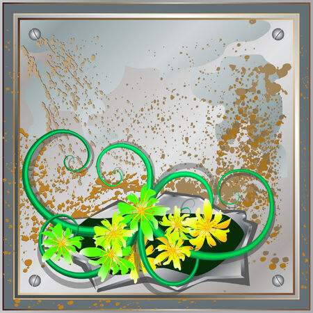 rusty metal plate with hole and floral Vector