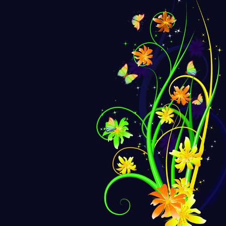 nightly: nightly floral background Illustration