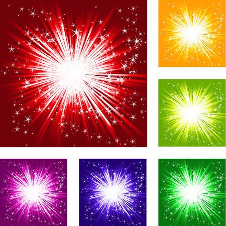 bursts: stars burst, six colored illustration Illustration