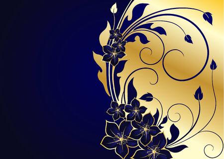 royal blue: golden floral background Illustration