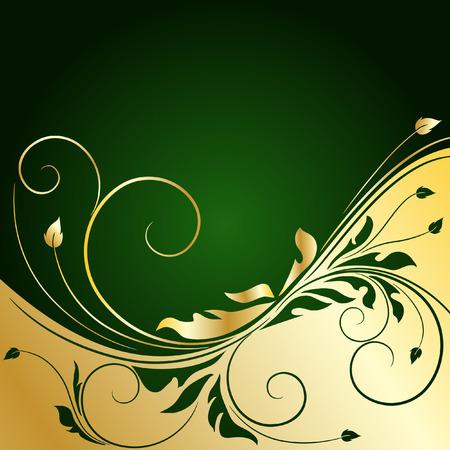 gold leaf: golden floral background Illustration