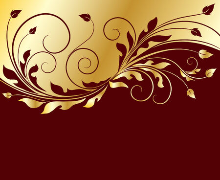 Fondo floral dorado