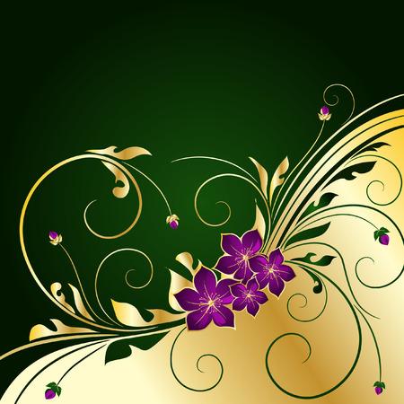 黄金の花の背景  イラスト・ベクター素材