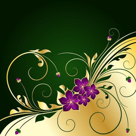 flore: golden floral background Illustration