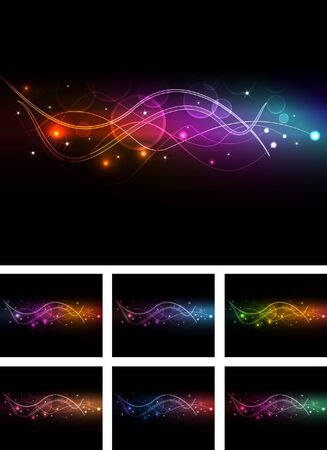 abstract  wave multicolor pack Vector
