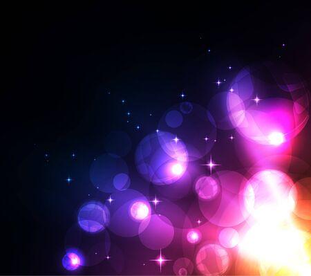 Gestileerde abstracte achtergrond met beweging gloeiende cirkels, bollen en sterren