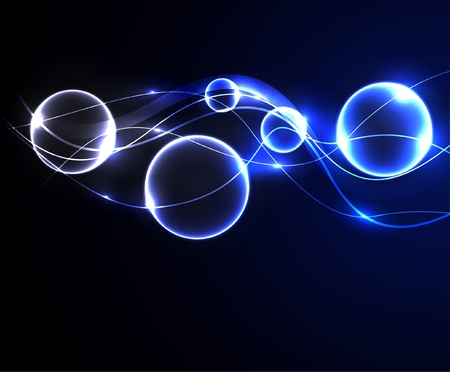 Glowing abstract background with bubbles.