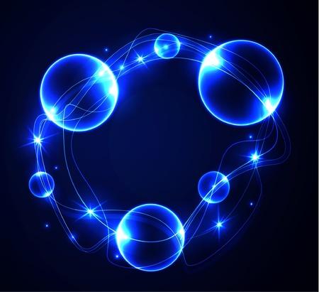 Gloeiende abstracte achtergrond met bubbels. Stock Illustratie