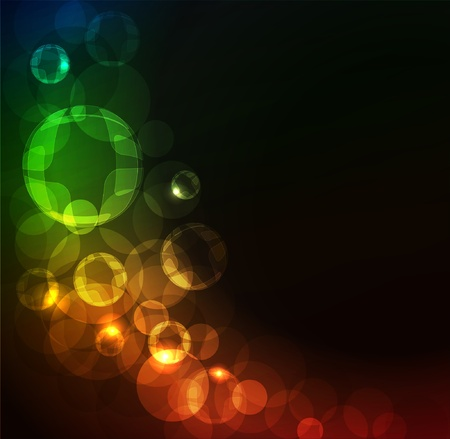Stylized abstract background with digital symbols and glowing elements  Vector