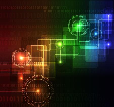 Gestileerde abstracte achtergrond met digitale symbolen en gloeiende elementen