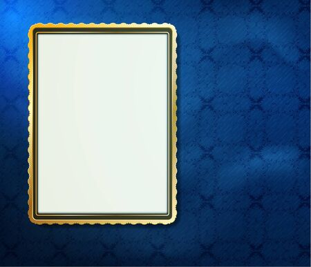 blank frame for photo on the grunge fabric background Illustration
