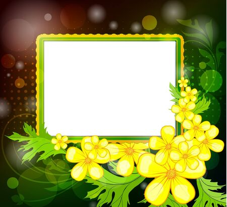 Photo frame on a floral background Stock Vector - 10458094
